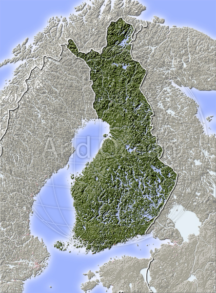 Finland, shaded relief map.