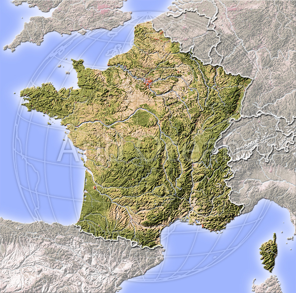 France, shaded relief map.
