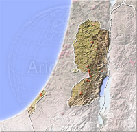 Gaza and West Bank, shaded relief map.