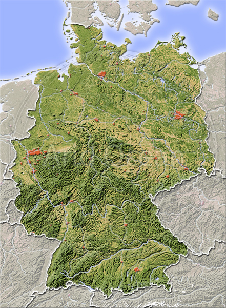 Germany, shaded relief map.