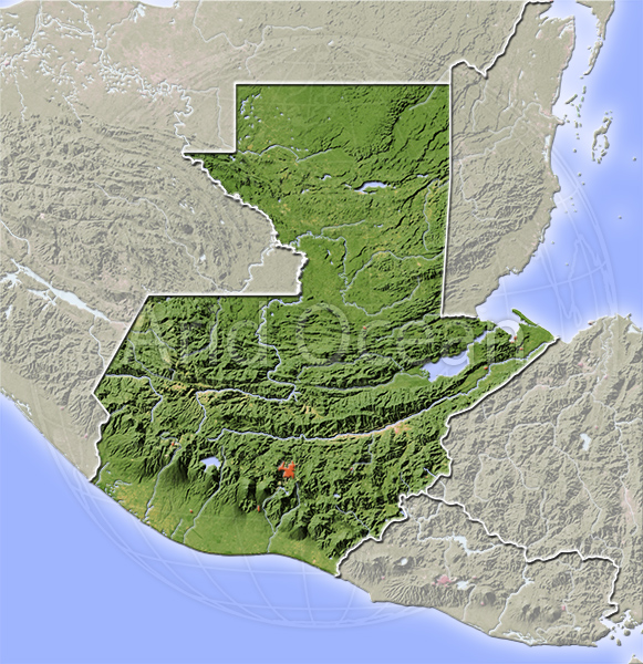 Guatemala, shaded relief map.