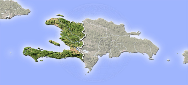 Haiti, shaded relief map.