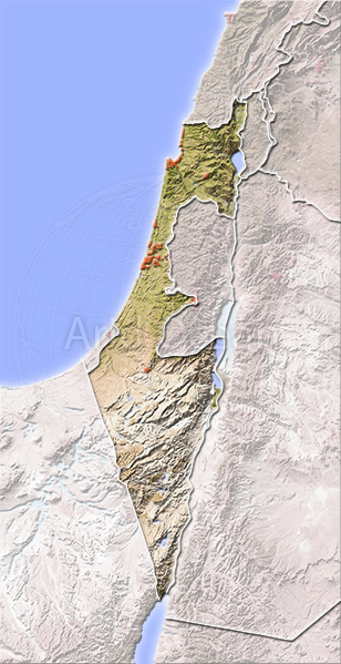 Israel, shaded relief map.