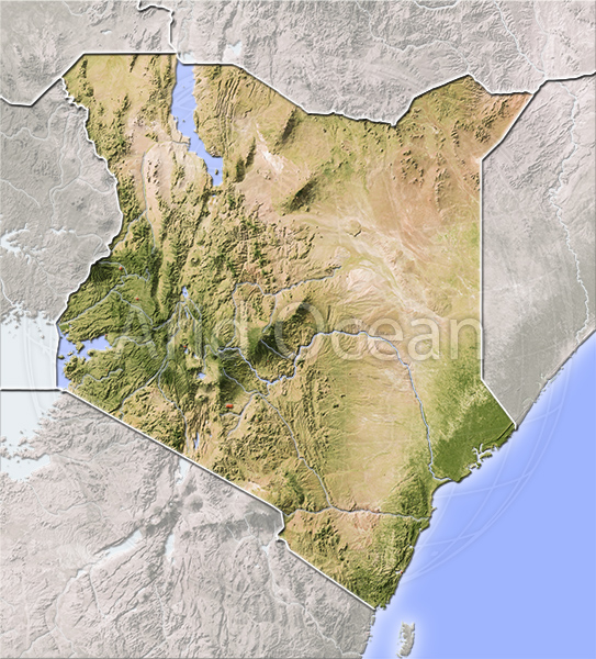 Kenya, shaded relief map.