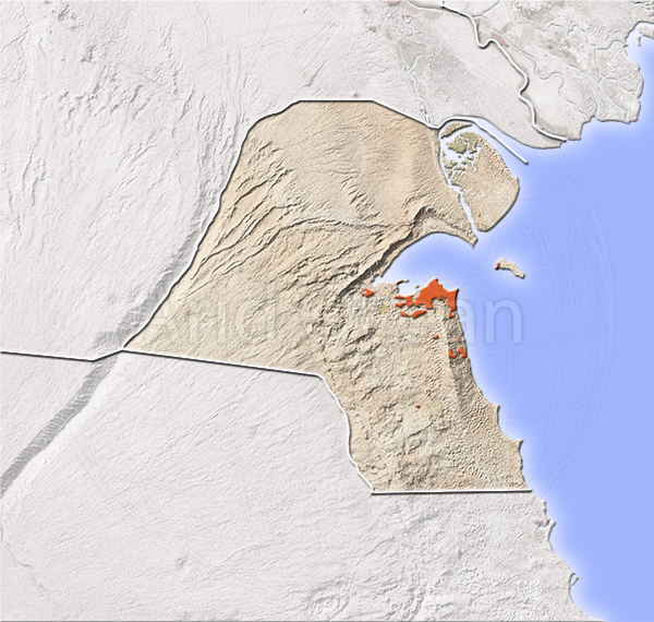 Kuwait, shaded relief map.