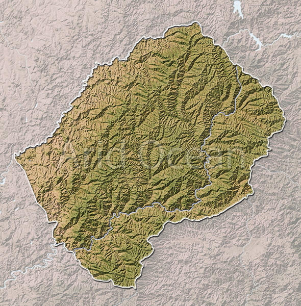 Lesotho, shaded relief map.