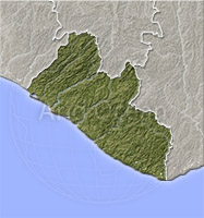 Liberia, shaded relief map.