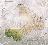 Mali, shaded relief map.