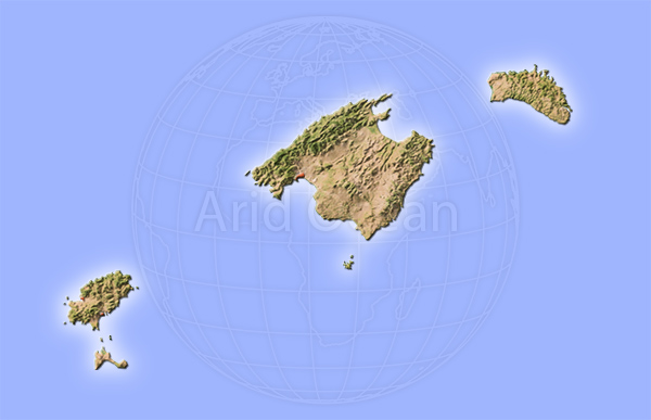 Mallorca, shaded relief map.
