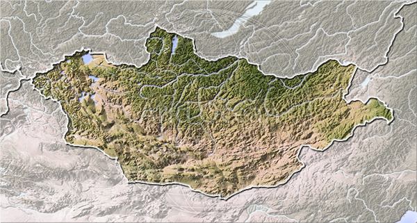 Mongolia, shaded relief map.