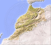 Morocco, shaded relief map.