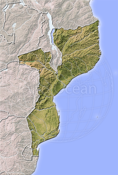 Mozambique, shaded relief map.