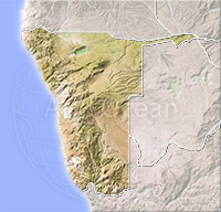 Namibia, shaded relief map.