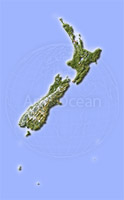 New Zealand, shaded relief map.