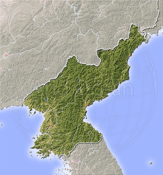 North Korea, shaded relief map.