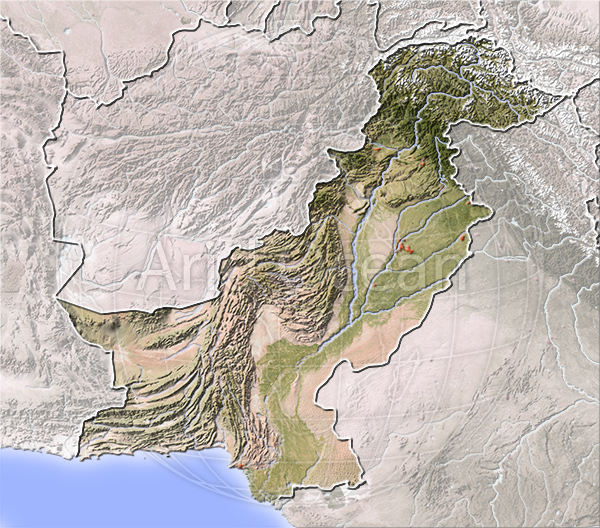 Pakistan, shaded relief map.