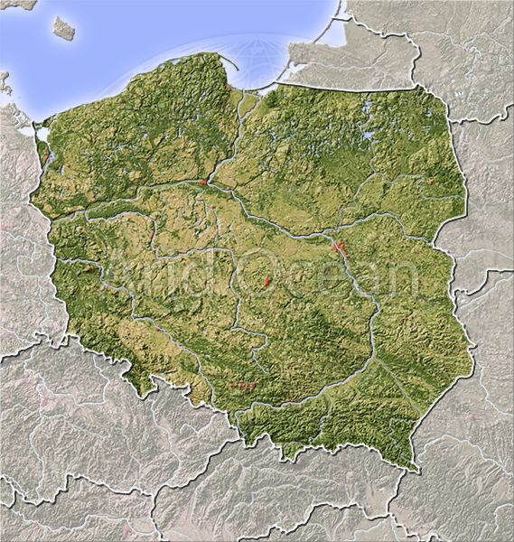 Poland, shaded relief map.