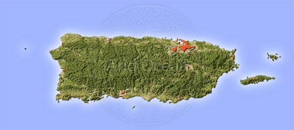 Puerto Rico, shaded relief map.
