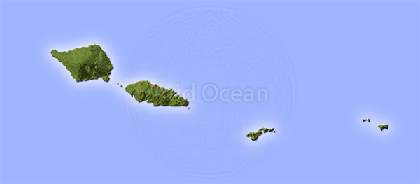 Samoa and American Samoa, shaded relief map.