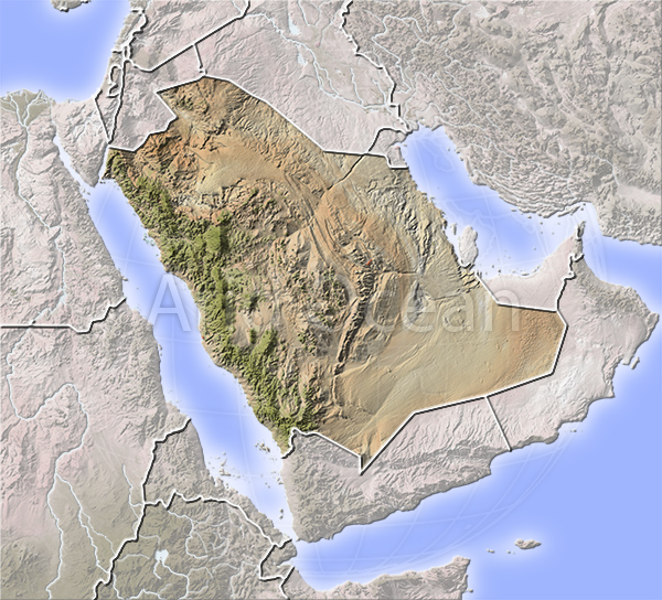 Saudi Arabia, shaded relief map.