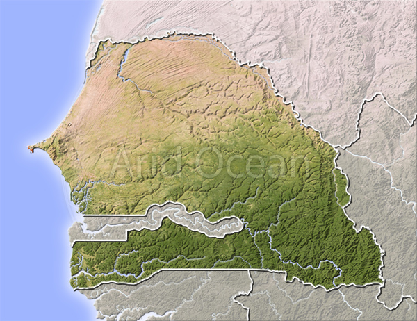 Senegal, shaded relief map.