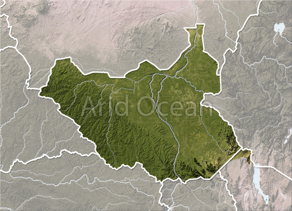 South Sudan, shaded relief map.