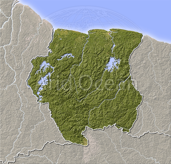 Suriname, shaded relief map.