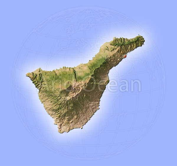 Tenerife, shaded relief map.