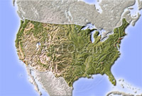 USA, shaded relief map.
