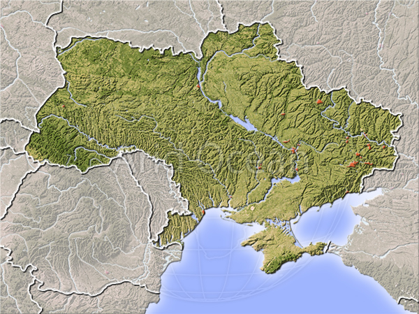 Ukraine, shaded relief map.