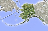 Alaska, shaded relief map.