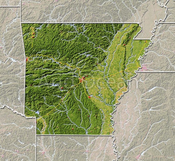 Arkansas, shaded relief map.