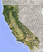 California, shaded relief map.