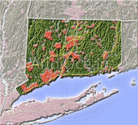 Connecticut, shaded relief map.