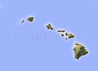 Hawaii Archipelago, shaded relief map.