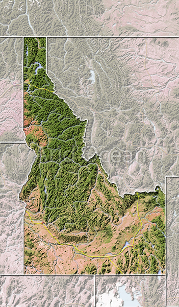 Idaho, shaded relief map.