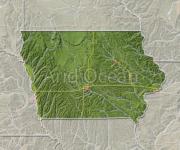 Iowa, shaded relief map.