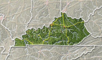 Kentucky, shaded relief map.