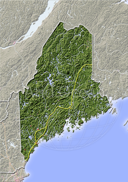 Maine, shaded relief map.