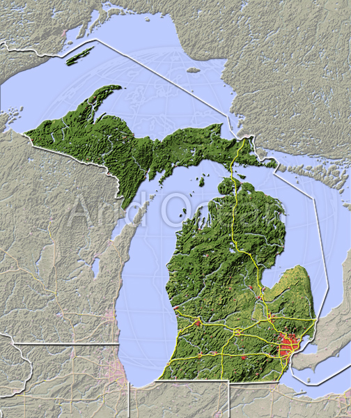 Michigan, shaded relief map.