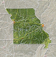 Missouri, shaded relief map.