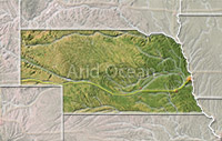 Nebraska, shaded relief map.