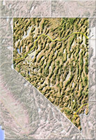 Nevada, shaded relief map.