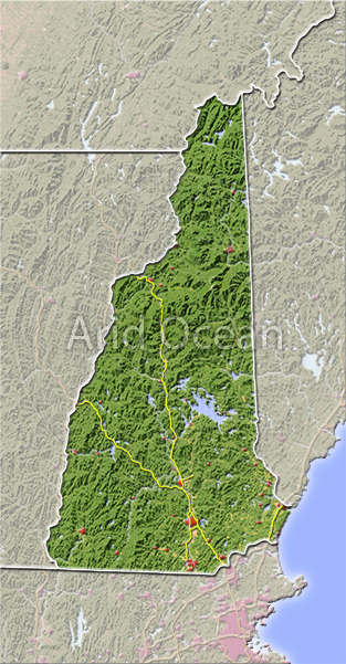 New Hampshire, shaded relief map.