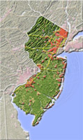 New Jersey, shaded relief map.