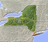 New York, shaded relief map.
