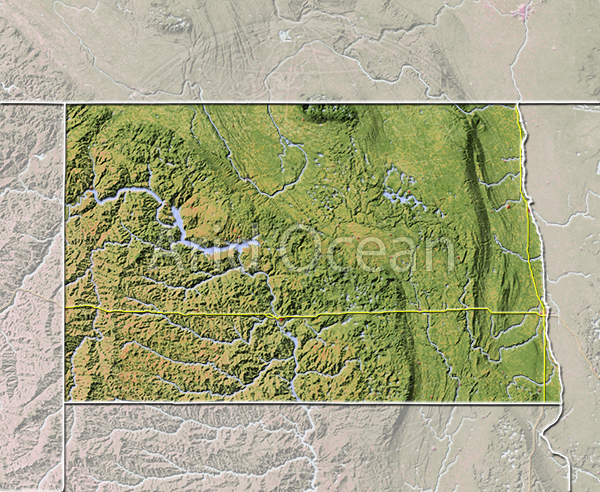 North Dakota, shaded relief map.
