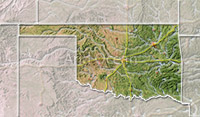 Oklahoma, shaded relief map.