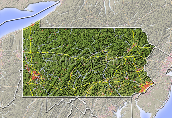 Pennsylvania, shaded relief map.