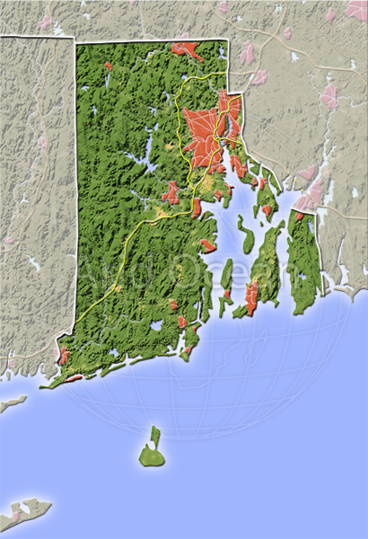 Rhode Island, shaded relief map.